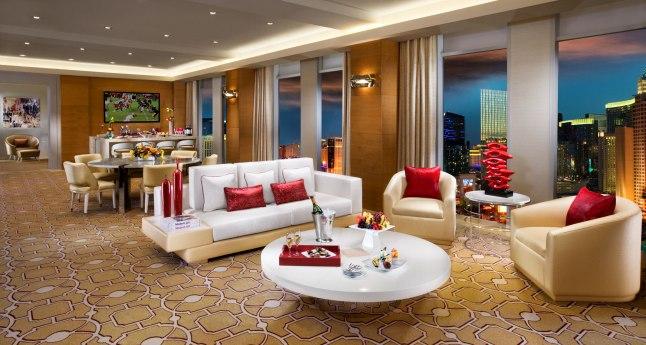 Living Room in Sky Villa Suite at The New Tropicana resort in Las Vegas