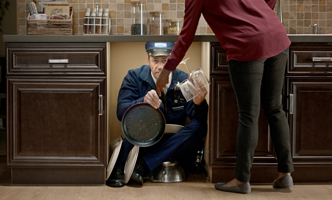 Maytag Man debuts in his brand new role – as the machine. As a Maytag dishwasher, he cuts through hard-to-scrub grease and tackles stubborn, sticky food residue like only a Maytag can.