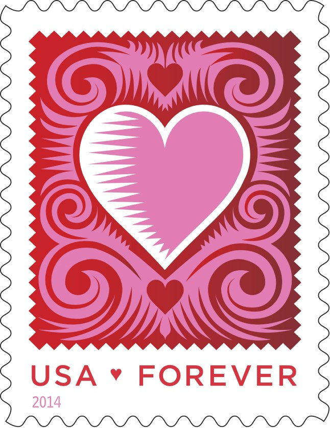 The U.S. Postal Service unveils the Limited-Edition Cut Paper Heart Forever(R) stamp.