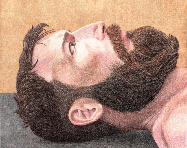 Elijah Burgher Portrait of Jhon Balance as Talisman Against Suicide, 2013. Colored pencil on paper, 19 x 24 in. (48.2 x 61.0 cm) Collection of the artist and Western Exhibitions, Chicago © Elijah Burgher