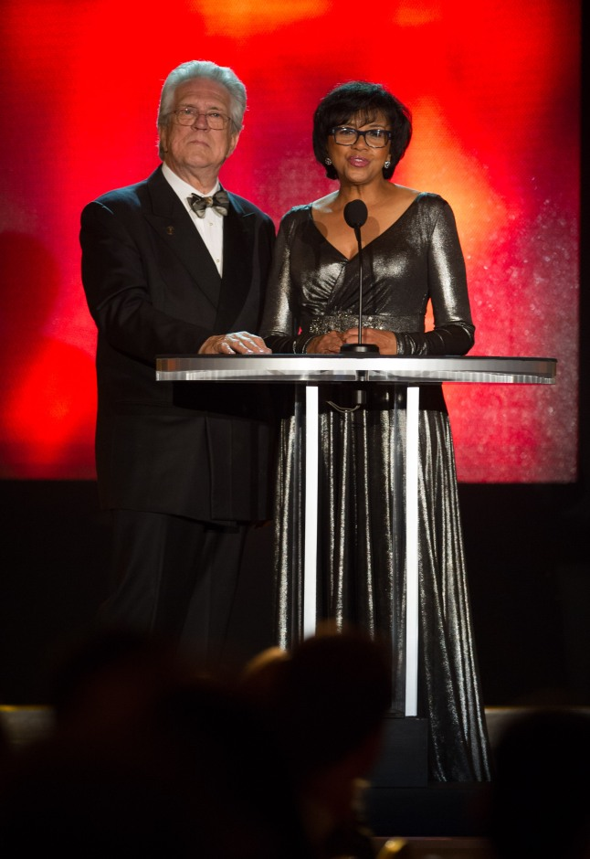 Science and Technology Council Chairman Richard Edlund (left) and Academy President Cheryl Boone Isaacs during the Academy of Motion Picture Arts and Sciences' Scientific and Technical Achievement Awards on February 15, 2014, in Beverly Hills, California.
