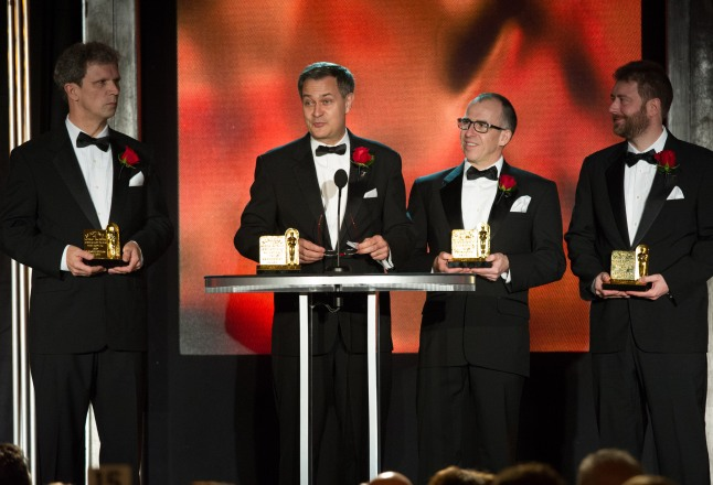 Jan Sperling, Emmanuel Prévinaire, Etienne Brandt and  Tony Postiau during the Academy of Motion Picture Arts and Sciences' Scientific and Technical Achievement Awards on February 15, 2014, in Beverly Hills, California.