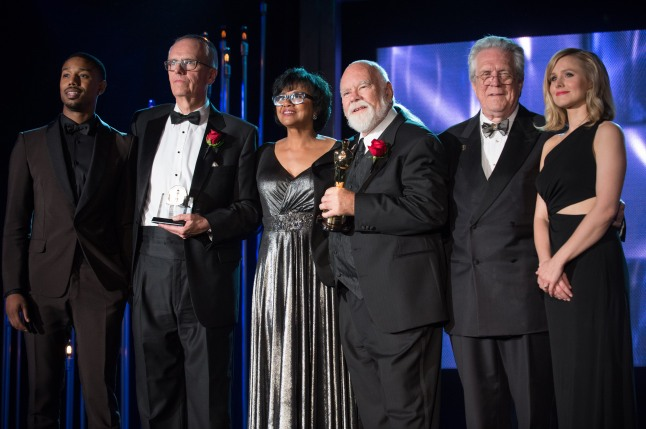 "The Academy of Motion Picture Arts and Sciences' Scientific and Technical Achievement Awards on February 15, 2013, in Beverly Hills, California. Pictured (left to right): Michael B. Jordan, Charles ""Tad"" Marburg, Cheryl Boone Isaacs, Peter W. Anderson, Richard Edlund and Kristen Bell."