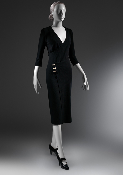 "Charles James (American, born Great Britain, 1906–1978) ""Taxi"" Dress, ca. 1932 Black wool ribbed knit The Metropolitan Museum of Art, New York, Purchase, Alan W. Kornberg Gift, 2013 (2013.309)"