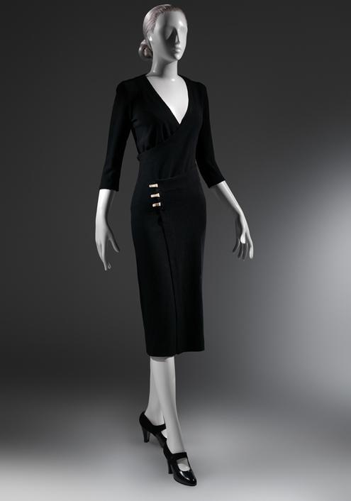 "Charles James (American, born Great Britain, 1906–1978) ""Taxi"" Dress, ca. 1932 Black wool ribbed knit The Metropolitan Museum of Art, New York, Purchase, Alan W. Kornberg Gift, 2013 (2013.309)"