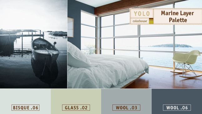 The Marine Layer Palette from YOLO Colorhouse evokes the casual calm of living near water by layering blue, green, and grey hues inside. As gentle as walking through fog, these cool colors transition easily from room to room. (PRNewsFoto/YOLO Colorhouse)