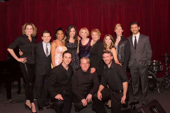 (Back row, left to right) Broadway Belts for PFF! cast members, Cady Huffman, Robert Creighton, Rashidra Scott, Lindsay Mendez, Julie Halston, Liz Callaway, Christina Bianco, Lucas Steele, and Tony Yazbeck. (Front row, left to right) Musician, Danny Weller; musical director, Christopher McGovern; and musician, Alex Wyatt. The Tony and Emmy award-winning cast performed at the Broadway Belts for PFF! fundraiser to benefit the Pulmonary Fibrosis Foundation at Birdland in New York City on February 24, 2014. Photo by Seth Walters. (PRNewsFoto/The Pulmonary Fibrosis Foundation, Seth Walters)