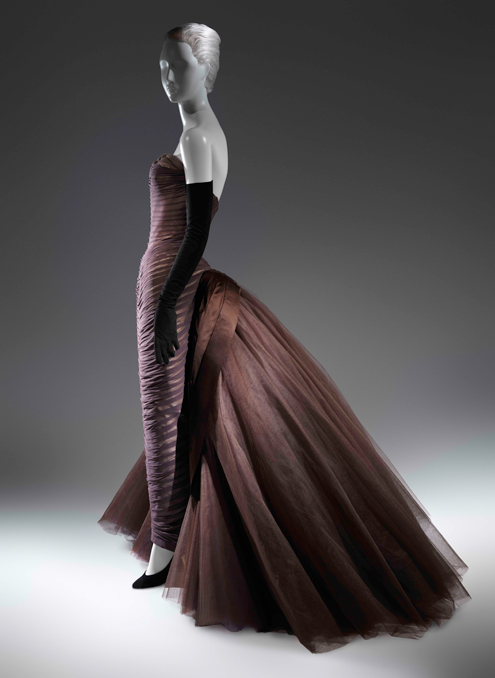 "Charles James (American, born Great Britain, 1906–1978) ""Butterfly"" Ball Gown, ca. 1955 Brown silk chiffon, cream silk satin, brown silk satin, dark brown nylon tulle The Metropolitan Museum of Art, New York, Purchase, Friends of The Costume Institute Fund, 2013 (2013.591)"