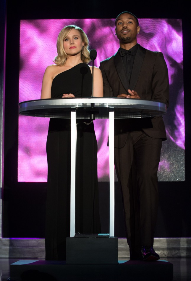 Actors Kristen Bell (left) and Michael B. Jordan during the Academy of Motion Picture Arts and Sciences' Scientific and Technical Achievement Awards on February 15, 2014, in Beverly Hills, California. credit: Aaron Poole / ©A.M.P.A.S.