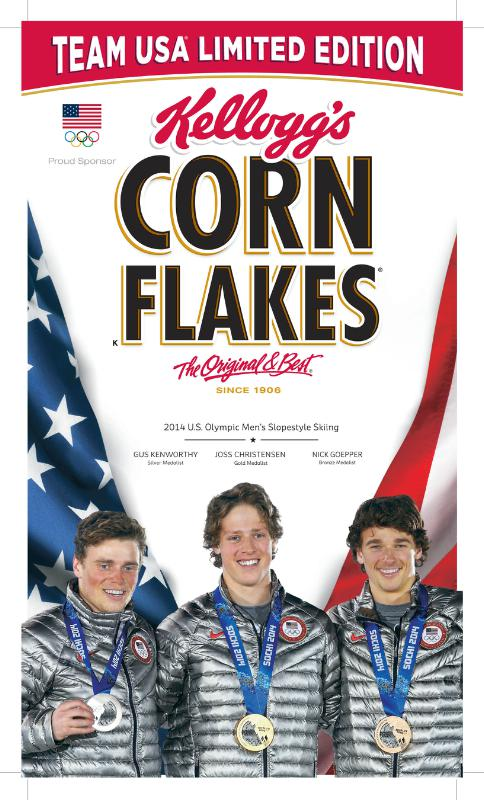 To celebrate the historic podium sweep for Team USA(TM) at the Sochi 2014 Olympic Winter Games in the first-ever Olympic freestyle skiing slopestyle competition, the medal winners will be featured on special-edition boxes of Kellogg's Corn Flakes(R). Freeskiers Joss Christensen, Gus Kenworthy and Nick Goepper will be pictured on the limited-edition Kellogg's box.  (PRNewsFoto/Kellogg Company)