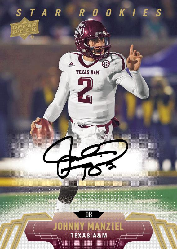 Johnny Manziel will have rare autograph rookie cards in 2014 Upper Deck Football which releases on April 16! Upper Deck is the home to the first licensed rookie cards of the year for Manziel, Bridgewater, Bortles, Sam and more! (PRNewsFoto/Upper Deck)