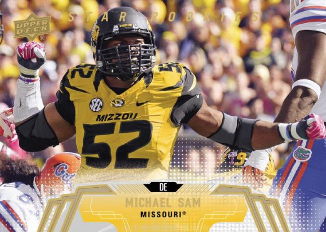 This will be Michael Sam's first licensed rookie card to hit the market in 2014 Upper Deck Football available to fans on April 16!  (PRNewsFoto/Upper Deck)