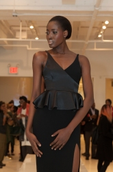 NEW YORK, NY - FEBRUARY 09, 2014: Model shows off dress during D