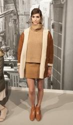 NEW YORK, NY - FEBRUARY 12, 2014: Model shows off dresses for Jo