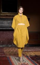 NEW YORK, NY - FEBRUARY 05, 2014: Model walks runway for Tia Cib