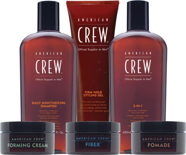 American Crew is the professional leader in men's grooming, setting the standard for men's grooming products. From R-L: American Crew Daily Moisturizing Shampoo, Firm Hold Styling Gel, 3-IN-1, Forming Cream, Fiber and Pomade. (PRNewsFoto/American Crew)