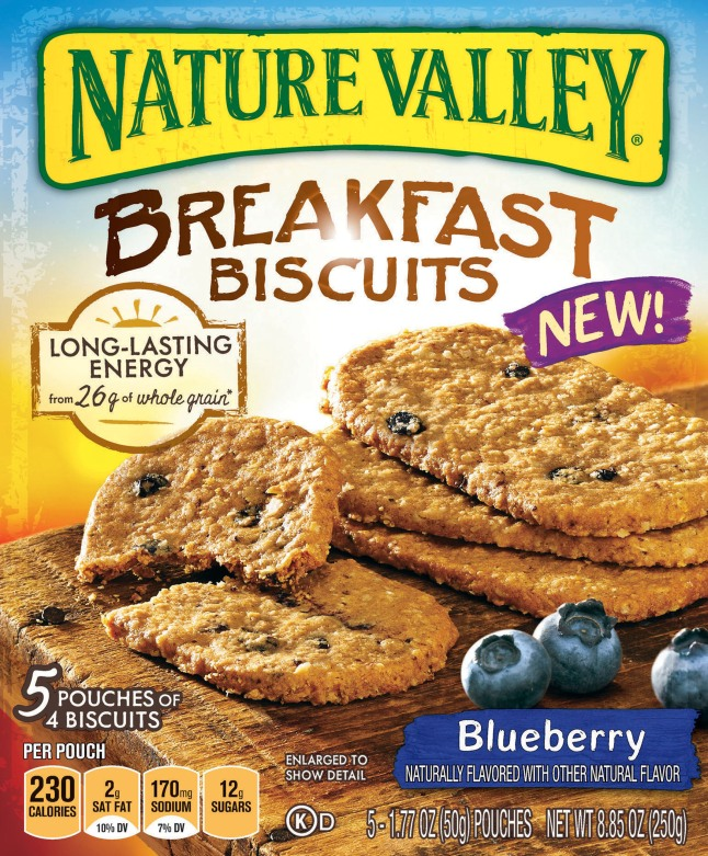 New Nature Valley(R) Breakfast Biscuits are available in two delicious varieties, Blueberry and Honey. (PRNewsFoto/Nature Valley)