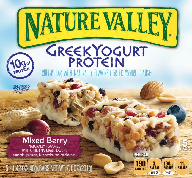 Nature Valley Greek Yogurt Protein Bars are a delicious, protein snack option great for an active lifestyle, offering Nature Valley fans a good source of on-the-go protein.   (PRNewsFoto/Nature Valley)