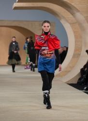 NEW YORK, NY - FEBRUARY 11, 2014: Model walks runway for Marc by