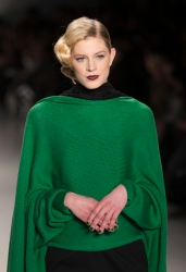 NEW YORK, NY - FEBRUARY 12, 2014: Model walks runway for Paris o