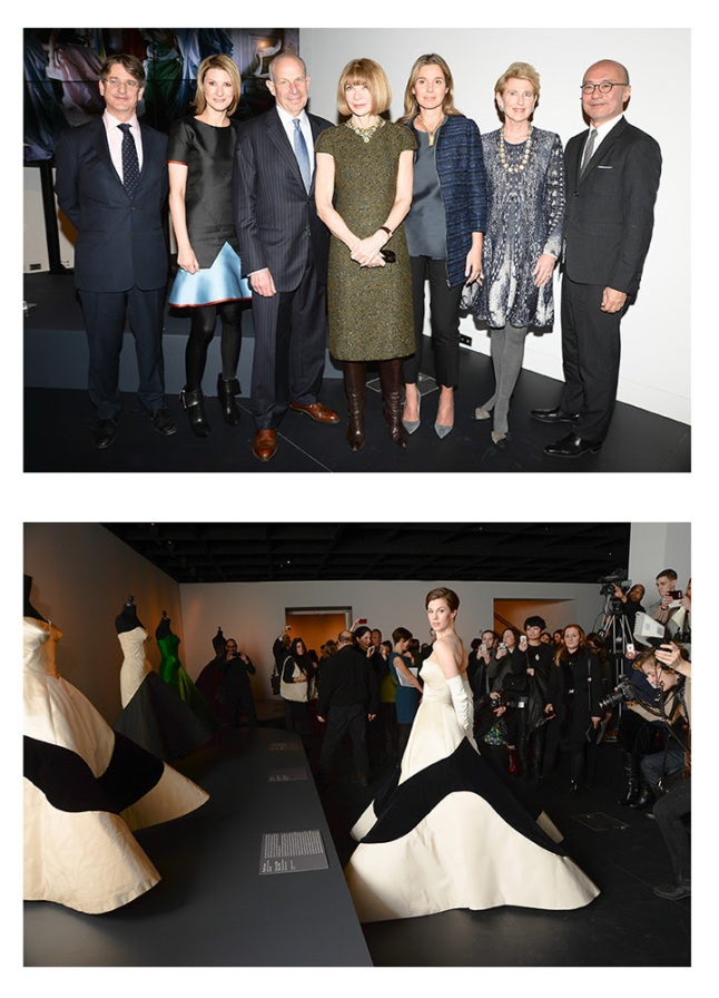Top Photo Caption: (from left) Thomas P. Campbell, Lizzie and Jonathan Tisch, Anna Wintour, Aerin Lauder, Emily K. Rafferty, and Harold Koda at the Met's Charles James: Beyond Fashion advance press event. Bottom Photo Caption: Elettra Wiedemann (right) in a facsimile of Charles James's Clover Leaf Gown opposite the original gown (left).