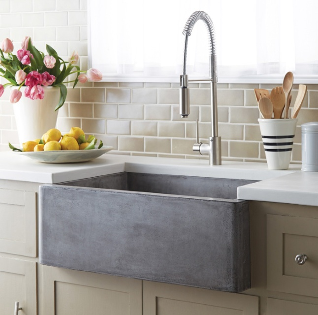 Farmhouse 3018's smooth glamour brings a fresh sense of durability and styling to this classic Farmhouse sink. And talk about versatility! Gorgeous as a traditional apron front, Farmhouse 3018 is also beautiful installed behind the cabinet, with no apron showing. Or create a real uprising by installing with the rim partially above the counter! This multitalented sensation is as suitable in a modern design as it is in a rustic country setting. Farmhouse 3018 is artisan crafted of NativeStone™, an innovative, remarkably strong blend of cement and jute fiber that is surprisingly lightweight for concrete, extraordinarily heavy-duty in the kitchen, and refreshingly easy when it comes to clean-up. Available in three finishes: Ash, Slate and Pearl.