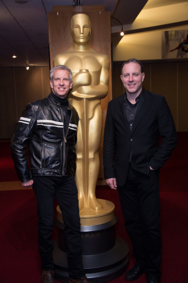 """Animated filmmakers Chris Sanders and Kirk DeMicco, of the Oscar®-nominated Animated Feature """"The Croods"""", prior to the Academy of Motion Picture Arts and Sciences' """"Oscar Celebrates: Animated Features"""" event on Friday, February 28, 2014 at the Samuel Goldwyn Theater in Beverly Hills."""