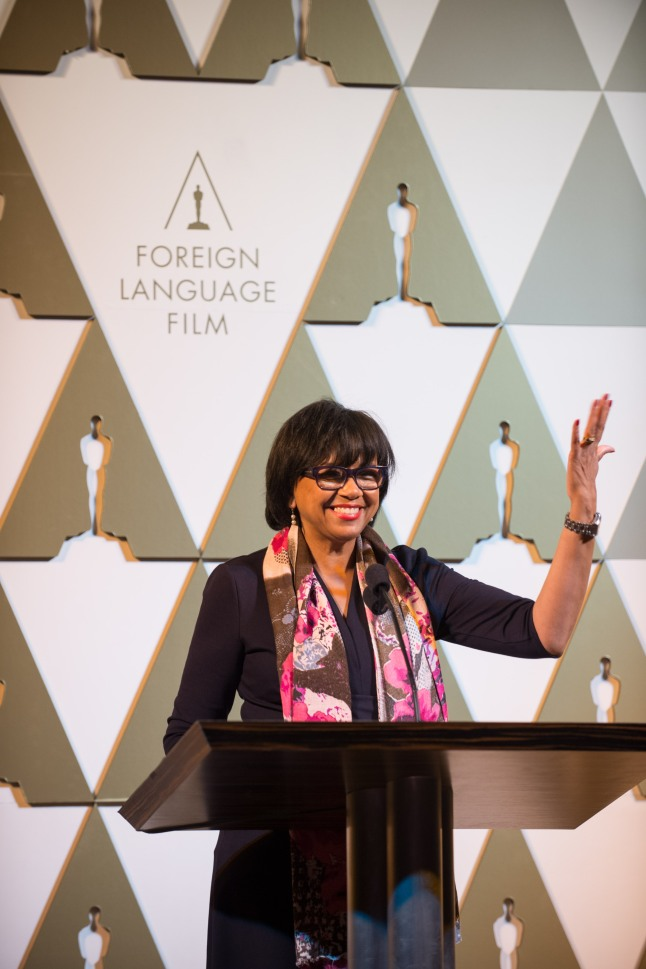Academy President Cheryl Boone Isaacs at the reception for the Foreign Language Film Award category for the 86th Oscars®, on Friday, February 28, 2014. The Oscars® will be presented on Sunday, March 2, 2014, at the Dolby Theatre® in Hollywood, CA and televised live by the ABC Television Network.