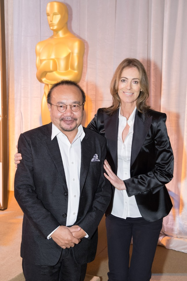 Director Rithy Pahn (left) and director Kathryn Bigelow at the reception for the Foreign Language Film Award category for the 86th Oscars®, on Friday, February 28, 2014. The Oscars® will be presented on Sunday, March 2, 2014, at the Dolby Theatre® in Hollywood, CA and televised live by the ABC Television Network.