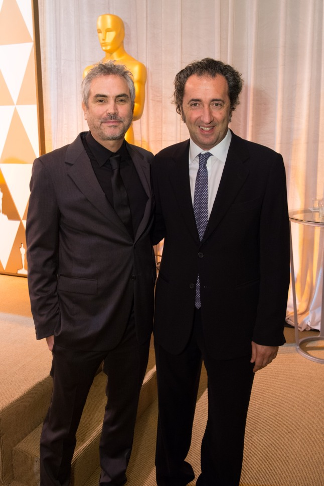Director Alfonso Cuarón (left) and director Paolo Sorretino  at the reception for the Foreign Language Film Award category for the 86th Oscars®, on Friday, February 28, 2014. The Oscars® will be presented on Sunday, March 2, 2014, at the Dolby Theatre® in Hollywood, CA and televised live by the ABC Television Network.