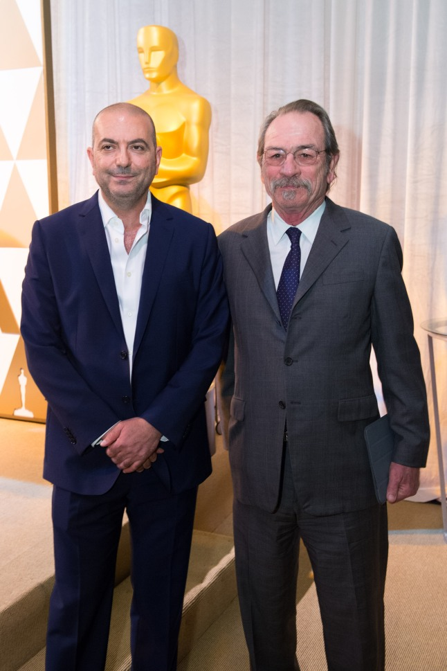 Director Hany Abu-Assad (left) and actor Tommy Lee Jones at the reception for the Foreign Language Film Award category for the 86th Oscars®, on Friday, February 28, 2014. The Oscars® will be presented on Sunday, March 2, 2014, at the Dolby Theatre® in Hollywood, CA and televised live by the ABC Television Network.