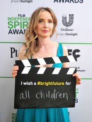 SANTA MONICA, CA - MARCH 01: Actress Julie Delpy calls ACTION! to create a brighter future for all children on the Yellow Carpet presented by Unilever Project Sunlight during the 2014 Film Independent Spirit Awards at Santa Monica Beach on March 1, 2014 in Santa Monica, California.  (Photo by Mark Sullivan/WireImage)