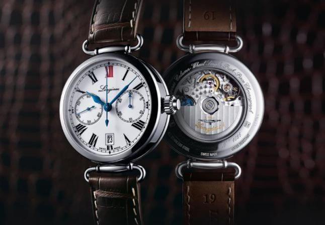 """The Longines Column-Wheel Single Push-Piece Chronograph models take their inspiration from the first chronograph wristwatches developed by Longines in 1913. This steel model is fitted with the L788 calibre, a column-wheel single push-piece chronograph movement developed by ETA exclusively for Longines. With its 40 mm diameter, its case is fitted with moving lugs. The white dial features black Roman numerals and a red """"XII"""", a small seconds at 9 o'clock and a 30-minute counter at 3 o'clock. The date aperture is situated at 6 o'clock. Blued hands harmoniously complete this timepiece, which comes with a brown alligator strap."""
