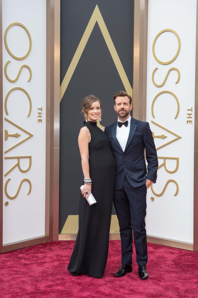 Olivia Wilde and Jason Sudeikis arrive for the live ABC Telecast of The 86th Oscars® at the Dolby® Theatre on March 2, 2014 in Hollywood, CA.