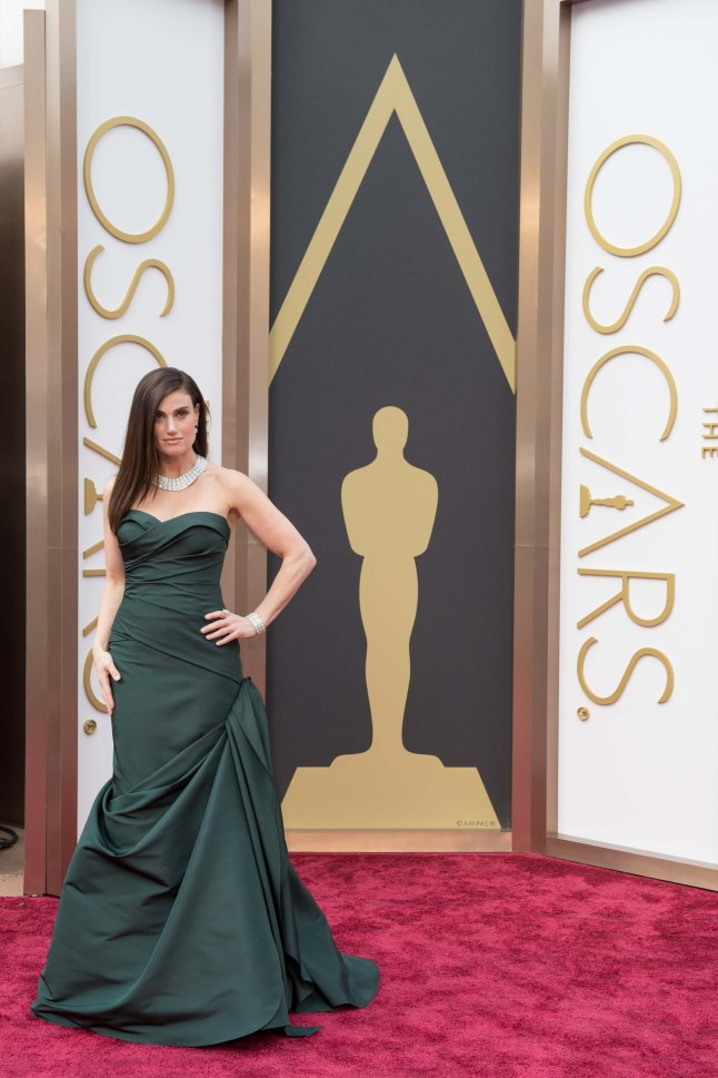 Idina Menzel arrives for the live ABC Telecast of The 86th Oscars® at the Dolby® Theatre on March 2, 2014 in Hollywood, CA.