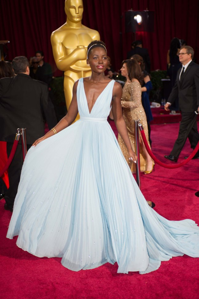 Oscar®-winning actress Lupita Nyong'o arrives for the live ABC Telecast of The 86th Oscars® at the Dolby® Theatre on March 2, 2014 in Hollywood, CA.