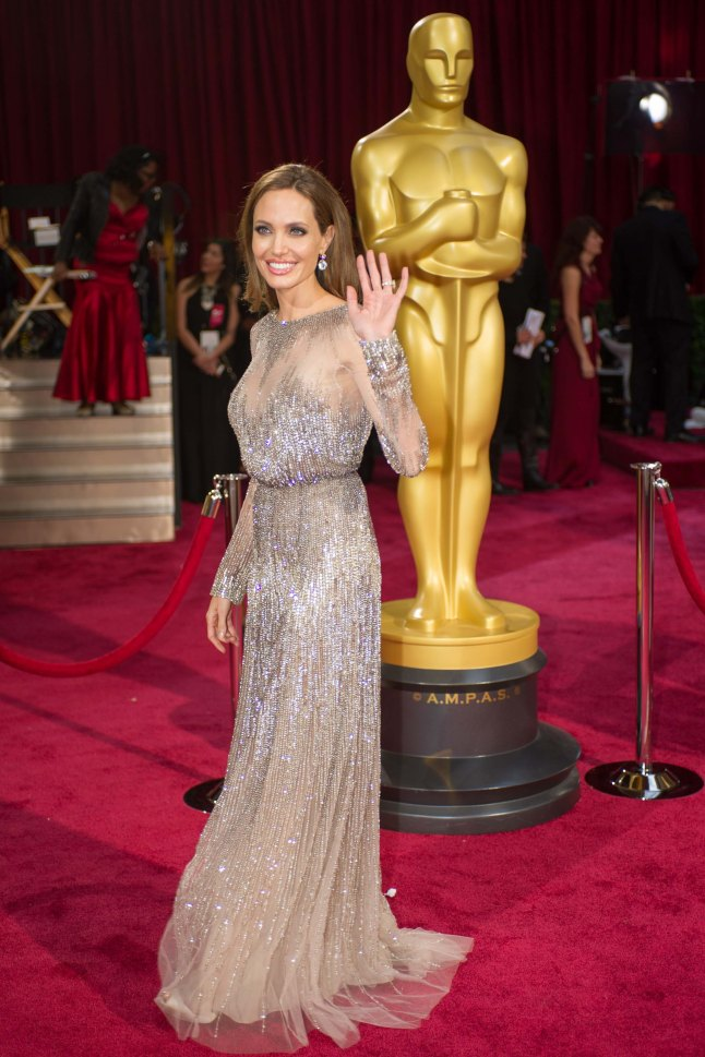 Angelina Jolie arrives for the live ABC Telecast of The 86th Oscars® at the Dolby® Theatre on March 2, 2014 in Hollywood, CA.