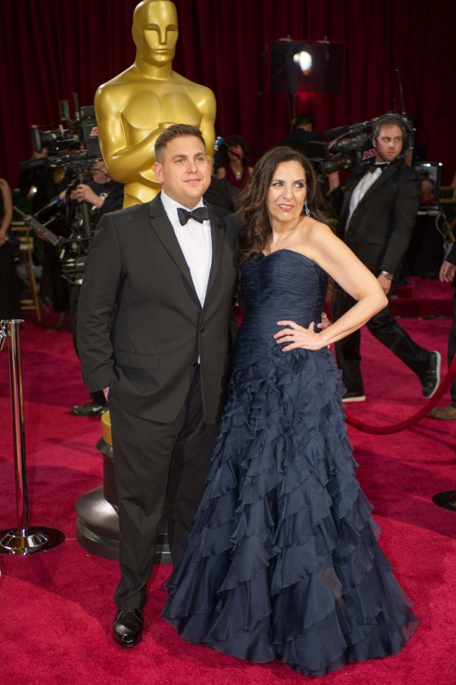Oscar®-nominated actor Jonah Hill and Sharon Lyn Chalkin arrive for the live ABC Telecast of The 86th Oscars® at the Dolby® Theatre on March 2, 2014 in Hollywood, CA.