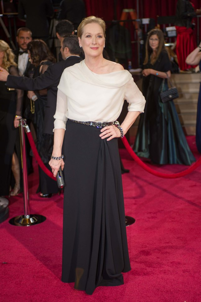 Oscar®-nominated actress Meryl Streep arrives for the live ABC Telecast of The 86th Oscars® at the Dolby® Theatre on March 2, 2014 in Hollywood, CA.