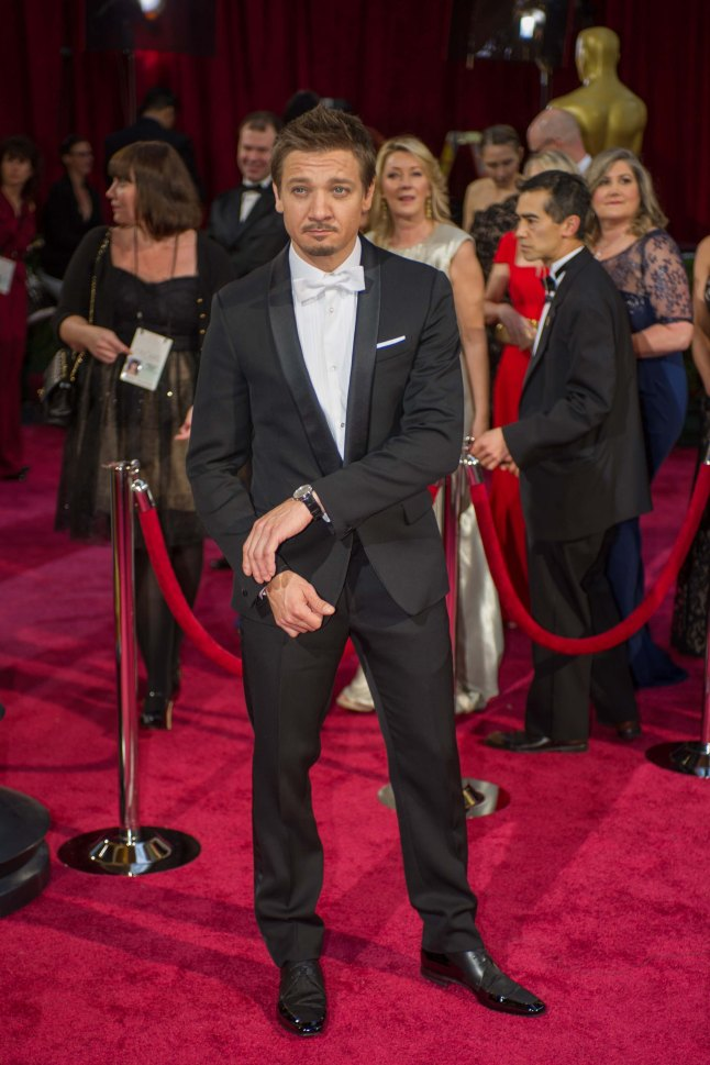 Jeremy Renner arrives for the live ABC Telecast of The 86th Oscars® at the Dolby® Theatre on March 2, 2014 in Hollywood, CA.