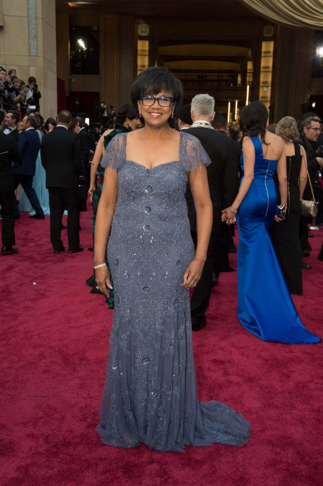 Cheryl Boone Isaacs, president of the Academy of Motion Picture Arts and Sciences, arrive for the live ABC Telecast of The 86th Oscars® at the Dolby® Theatre on March 2, 2014 in Hollywood, CA.