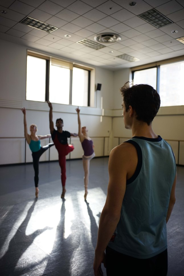 Ballet 422, directed by Jody Lee Lipes. (USA) Choreographer Justin Peck in rehearsal for his work-­?in-­?progress with New York City Ballet principal dancers Sterling Hytlin, Tiler Peck, and Amar Ramasar. Photographer: Jody Lee Lipes