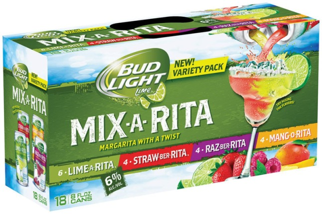 Bud Light Lime introduces Mang-O-Rita, Raz-Ber-Rita and four flavor Mix-A-Rita variety pack in time for spring and summer entertaining.  (PRNewsFoto/Anheuser-Busch)