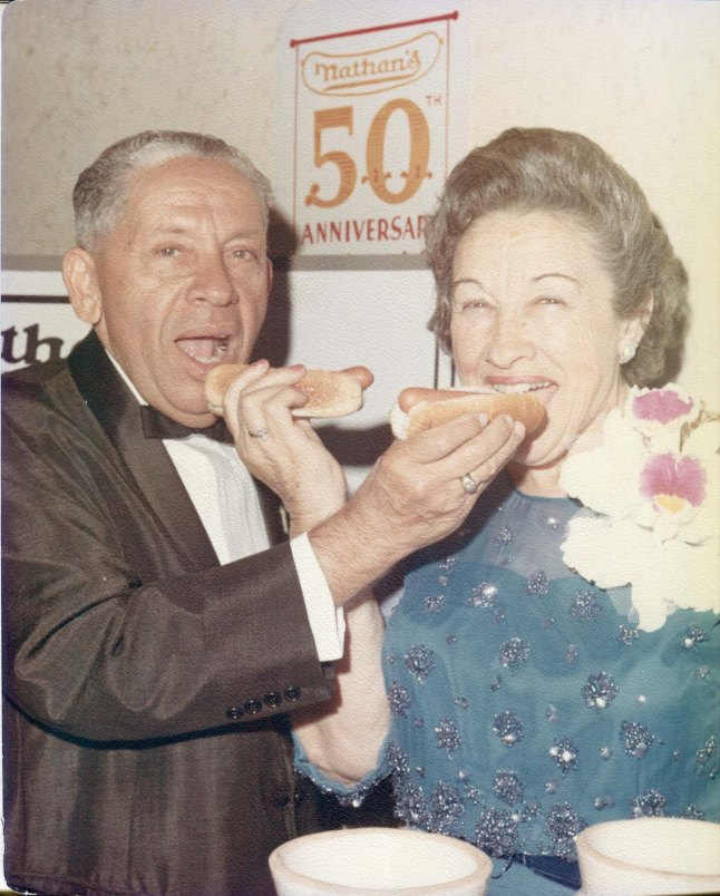Famous Nathan, directed and written by Lloyd Handwerker. (USA) Subject: Nathan Handwerker and Ida Handwerker, at the 50th anniversary of Nathan's, 1966. Photographer: Daniel Farrell