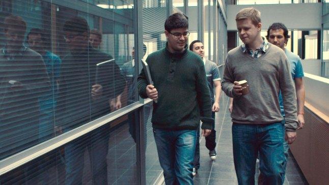 Love & Engineering, directed and written by Tonislav Hristov. (Finland, Germany, Bulgaria)  Atanas Boev (left) is teaching engineers how to hack womens' firewalls in Love & Engineering. Photo: Peter Flinckenberg