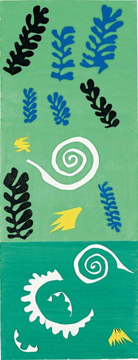 """Henri Matisse (French, 1869-1954). Composition Green Background (Composition fond vert), 1947. Gouache on paper, cut and pasted, and pencil. 41 x 15 7/8"""" (104.1 x 40.3 cm). The Menil Collection, Houston. © 2014 Succession H. Matisse, Paris / Artists Rights Society (ARS), New York"""