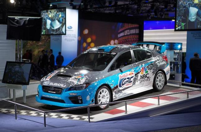 Subaru Debuts First 2015 Rallycross STI at the New York International Auto Show. (PRNewsFoto/Subaru of America, Inc.)