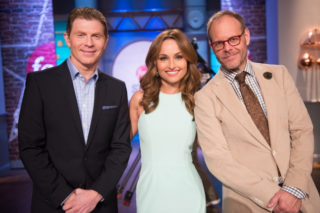"The Selection Committee Bobby Flay, Giada De Laurentiis and Alton Brown at the reveal of the Star Challenge ""Please Try This At Home"" as seen on Food Network Star, Season 10."