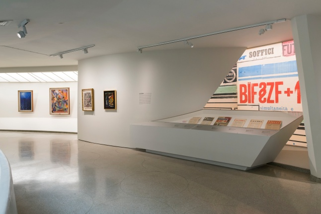 Installation view: Italian Futurism, 1909–1944: Reconstructing the Universe, Solomon R. Guggenheim Museum, New York, February 21–September 1, 2014 Photo: Kris McKay © Solomon R. Guggenheim Foundation