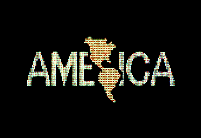 Alfredo Jaar  A Logo for America, 1987 Digital color video, 10 min., 25 sec., edition 2/6; original animation commissioned by Public Art Fund for Spectacolor Sign, Times Square, New York, April 1987 Solomon R. Guggenheim Museum, New York, Guggenheim UBS MAP Purchase Fund Courtesy the artist